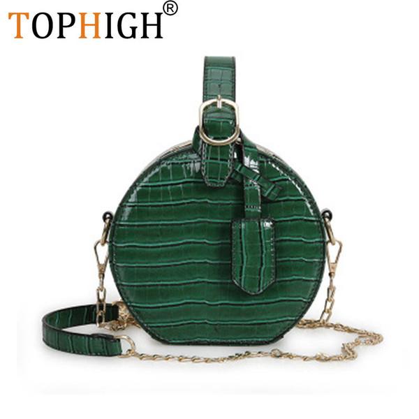 TOPHIGH Luxury Crocodile Pattern Women Handbag Leather Small Round Bag Designer Shoulder Messenger Bag Evening Drop Ship