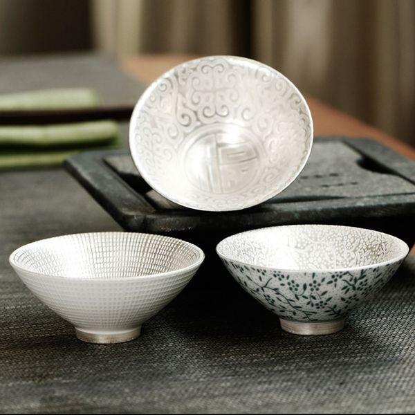 Keramik eingelegte Silber Tasse handgemachte Kung Fu Tee-Set Drink vergoldet Master Cup Single