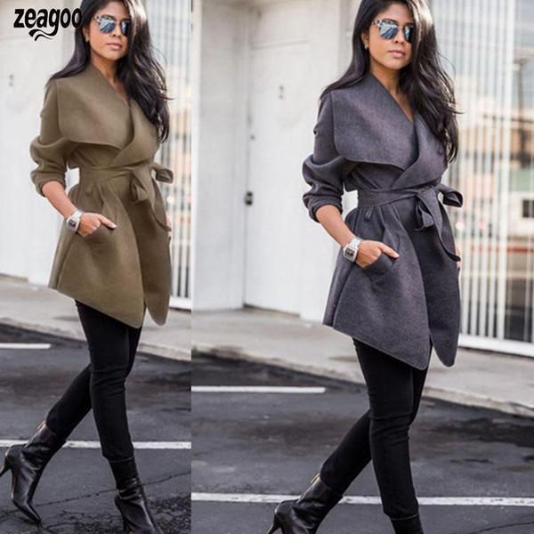 المرأة عارضة بدوره أسفل الياقة كم طويل الصلبة حزام طويل معطف الشتاء الكاكي ، رمادي غامق ، أسود ، أزرق