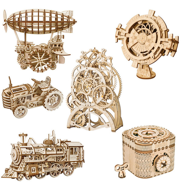 Rokr Diy 3d Wooden Puzzle Mechanical Gear Drive Model Toys Assembly Model Building Kit Toys Gift For Children Adult Teens MX190730