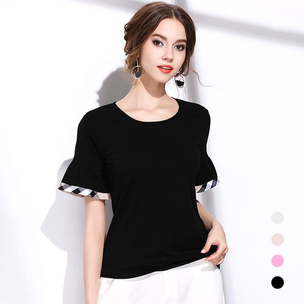 Yeni moda kadınlar T Shirt Markalı tasarım klasik ekose onay casual yuvarlak boyunlar flare kollu kadın pamuk tees tops