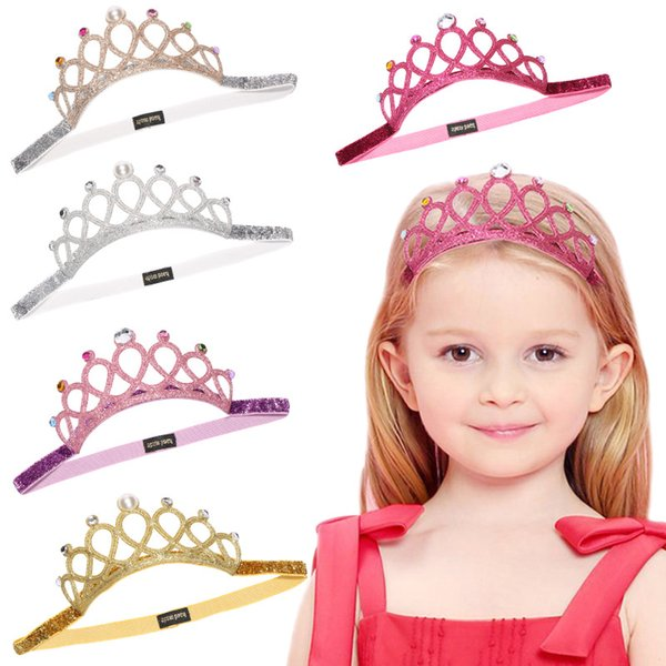 European and American Kids Luxury Crystal Headband Silver Gold Crown Designer Hairband Lovely Girl Elegant Hair Bows Accessories