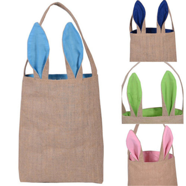 Hot Easter Bunny Bags Dual Layer Rabbit Ears Design Basket Jute Cloth Material Tote Bag Carrying Eggs/Gifts Box for Easter/Party