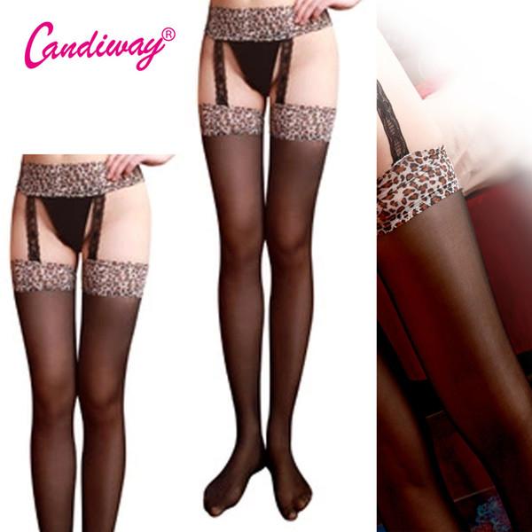 Hold-Ups Tops de encaje Estampado de leopardo Medias Mujeres íntimas Moda sexy Top muslo Cinturón de liga Liguero Conjunto Pantimedias