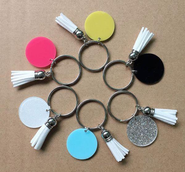 Moda unisex 22 cores disponíveis acrílico disco em branco vinly borla keychain em estoque