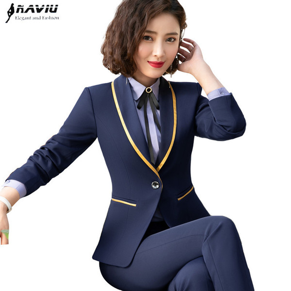 New Fashion Business Interview Women Suits Plus Size Work Office Ladies Long Sleeve Slim Formal Blazer And Pants Set Q190521