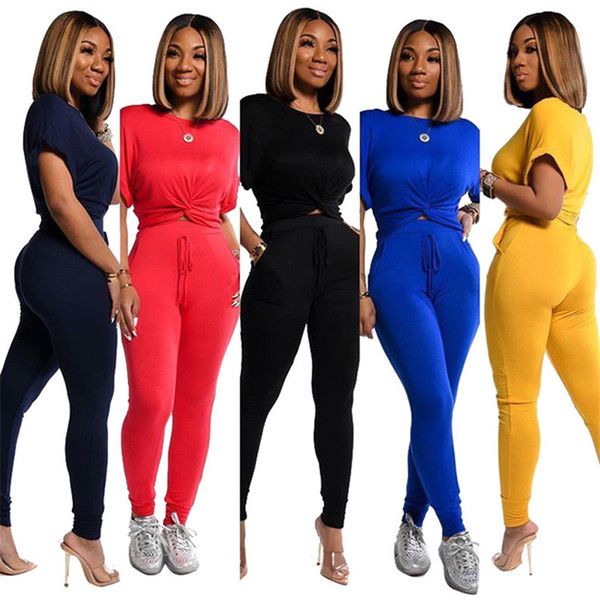 top popular Plus size summer women two piece set short sleeve T-shirt pants leggings outfits jogging suit casual black sportswear 2614 2021