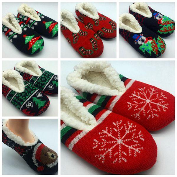 Mulheres Natal Clássico Applique Chinelo Meias Senhora Chinelo Meias Casa Chinelo Meias Chinelos Confortáveis para As Mulheres RRA2026