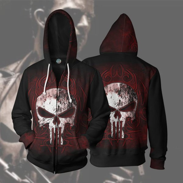Marvel anti-hero The Punisher 3D animation red sweater casual sweater hoodie cosplay