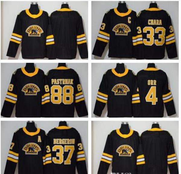 2020 Nouvelle arrivée des Bruins de Boston Zdeno Chara 33 troisième grand et maillots hautes 37 Patrice Bergeron 4 Bobby Orr 88 David Pastrňák chandails Noir