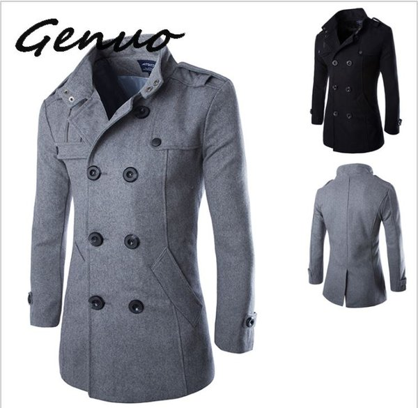 Genuo Fashion Mens Trench Coat Jacket Spring Autumn Mens Overcoats Casual Solid Color Woolen Trench Coat for Men Clothing 2019