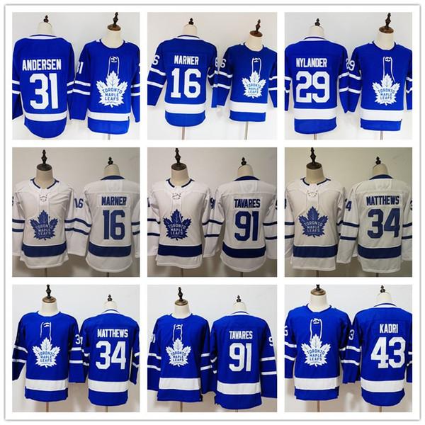 Toronto Maple Leafs für Frauen 91 Tavares 34 Matthews 16 Mitchell Marner 29 William Nylander 31 Frederik Andersen Hockey-Trikots Genäht