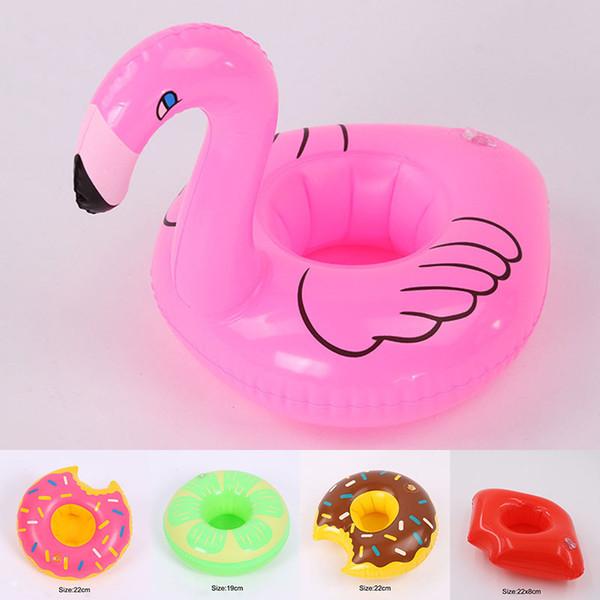 Porte-gobelets pour boissons gonflables Flamingo Donut Pastèque À Lèvres Piscines Flottantes Jouets Bain Boisson tasse Seat Boat Summer 240717