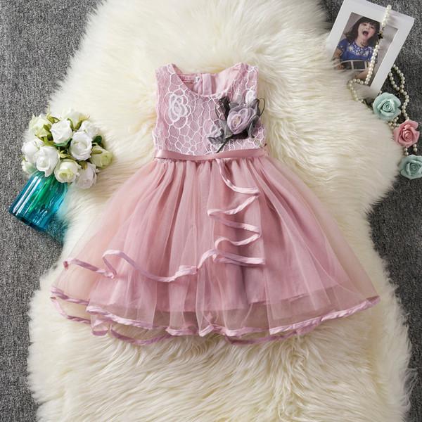 2019 new baby girls lace dress with flower brooch kids design mesh tutu skirts children girl summer clothes