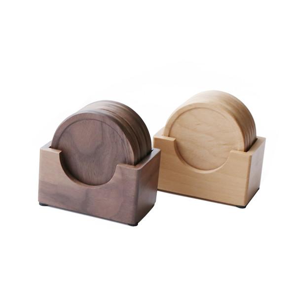 Black Walnut Beech Solid Wood Round Tea Coaster,Insulation Pad Coffee Cup Mat Water Cup Coaster Set,Tea Art Accessories
