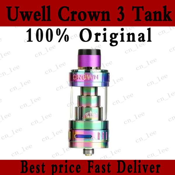 200% Original Uwell Crown 3 Atomizer 5ml 24.5mm Airflow Control Sub ohm Tank 0.25ohm 0.5ohm Fit 510 Mods