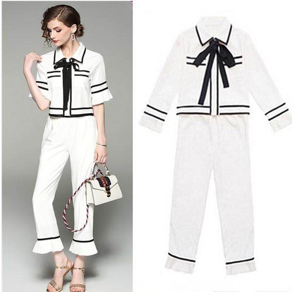 2 Piece Pant Suits Formal Ladies Office Ol Designs Women Elegant Business Work Wear Bows Blouse Shirt And Trousers Sets Dz152