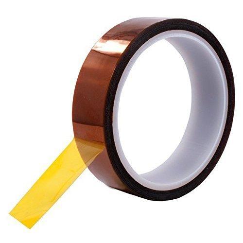 Wärmebeständiges Klebeband 20 mm x 100 ft Wärmebeständiges Kapton Klebeband aus Polyimidfilm, hauptsächlich Tawny (20 mm 33 m)