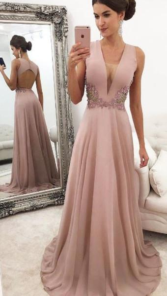 Discount Cheap Prom Evening Dresses Deep V neck Keyhole Back Applique Chiffon Beading Sequins Party Formal Dress Gowns Wholesale Designer