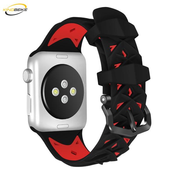 KINGBEIKE Sport Bracelet de montre en silicone pour Apple Watch Séries 1/2/3/4 Bande 42mm / 38mm Bande 40mm / 44mm Bracelet de remplacement