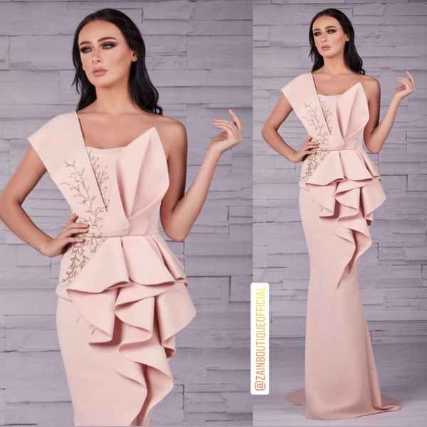 Aso Ebi 2019 Arabic Pink Stylish Evening Dresses One Shoulder Mermaid Beaded Prom Dresses Cheap Sexy Formal Party Bridesmaid Gowns ZJ509