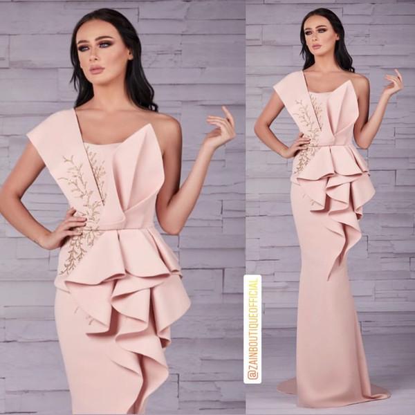 Aso Ebi 2019 арабский розовый стильные вечерние платья одно плечо Русалка бисером платья выпускного вечера дешевые сексуальные вечерние платья невесты ZJ509