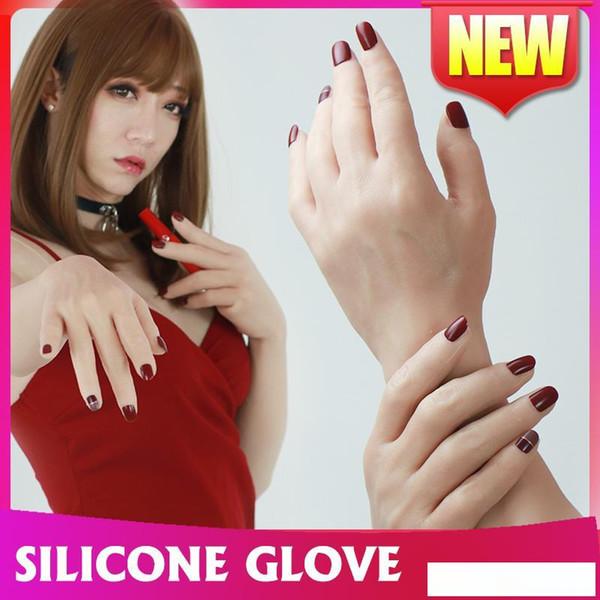 homme de silicone fait haut niveau gant de silicone réaliste avec des ongles peau artificielle Lifelike faux mains pour Crossdresser femme