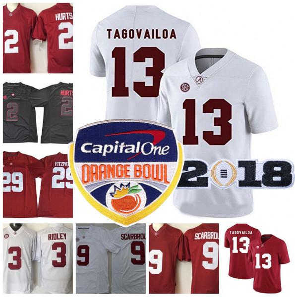 NCAA Alabama Crimson Tide  13 Tua Tagovailoa 2 Jalen Hurts 4 Jerry Jeudy 12  Joe Namath 22 N. Harris 2018 Orange Bowl Championship Jerseys 05d24101c