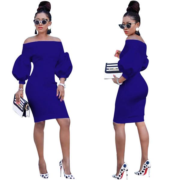 Mujer Primavera Otoño Vestidos ajustados Diseñador de moda Slash Neck Puff Vestidos de manga larga Mujeres Vestidos asimétricos