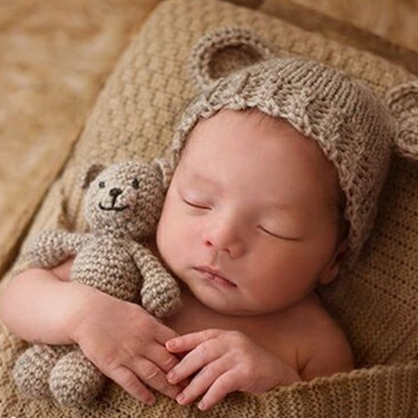 Bear And Cap Infant Accessories Newborn Photography Props Baby Hat Girl Boy Beanies Crochet Knit Costume Q190521