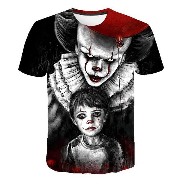 Clown Back Mens Summer 3D camisetas de impresión digital American Movie Loose Fashion Clothing cuello redondo de manga corta ropa
