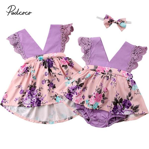 2019 Marka Bebek Çocuk Bebek Kız Kardeş Eşleşen Giyim Dantel Çiçek Tulum Romper Elbise Kıyafet Yaz Tatil Sundress 0-6Y