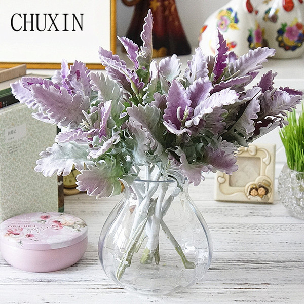 heap Artificial & Dried Flowers European-style simulation flocking silver leaf chrysanthemum bunch Home hotel green decorative fake p...