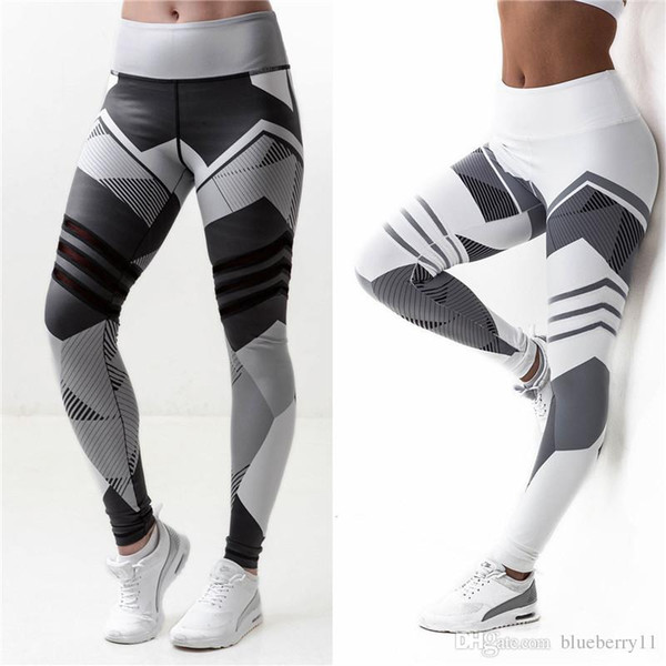 Las mujeres forman apretado Sportwear polainas alta delgada y elástica para deportes de yoga pantalones de fitness carreras de larga Pantalones Legging Blanco Negro S-2XL