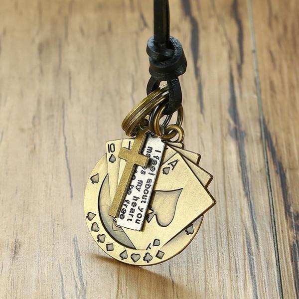Retro Vantage Men Retro Vantage Men's Necklace Poker Alloy Pendant Leather Handmade Chains Cross Circle Adjustable Link Male Accessories