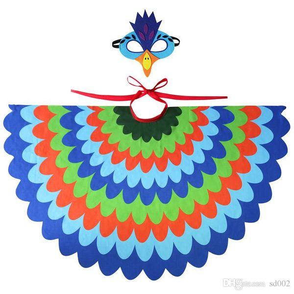 Simulación Cuspirostrisornis Capa traje del pavo real del Cabo Con la máscara de ojo gasa Kid Party Bird Cosplay Ropa Capas Complementos Disfraz 28 9spb1