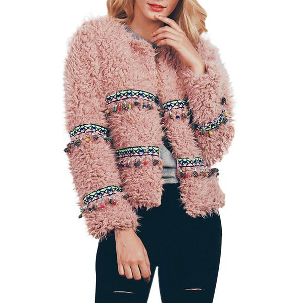 Fashion Winter Women Fleece Fur Coat Thick Plush Tassel Overcoat Elegant Ladies Short Autumn Warm Outerwear Jacket New Z4