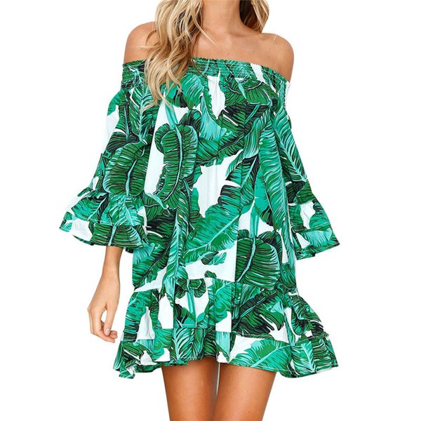 New 2018 Hot Selling Women Sexy Leaves Printing Off Shoulder Half Sleeve Dress Princess Dress For Dropship Y19012201