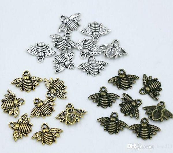 top popular MIC 150pcs Antique silver   Gold   Bronze Zinc Alloy Lovely Bee Charms Pendants 16x20mm DIY Jewelry Fit Bracelets Necklace Earrings 2019