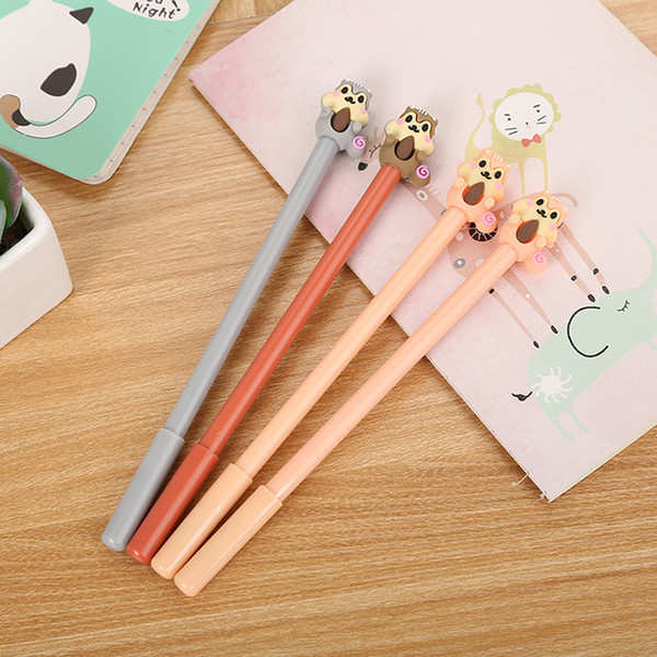 5pcs 0.5mm black ink cute cartoon eating squirrels signature gel pen stationery office school writing supply kids neutral pens