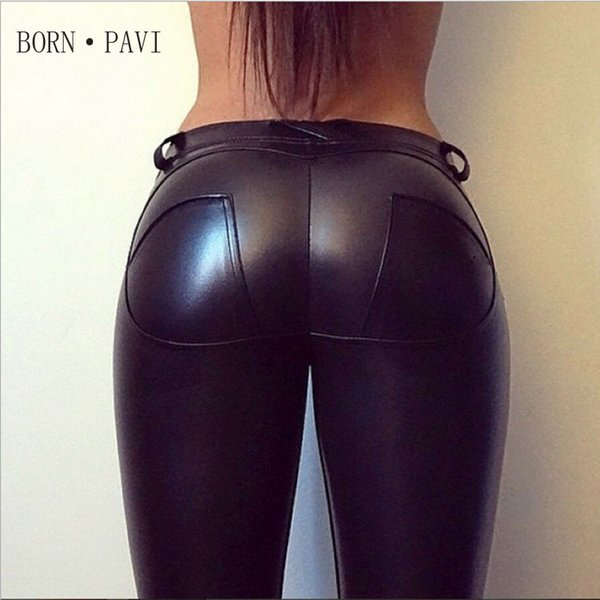 BORNPAVI For Women Sexy Hip Push Up Pants Low Waist Leggings PU Leather Jegging Gothic Leggins Jeggings Legins 4 Colors Y190603