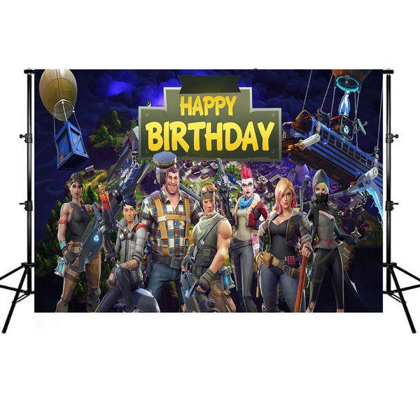 Fondali per Videogiochi Battle Royale Fondali per bambini Happy Birthday Party Banner Vinile Foto Sfondi Studio Photoshoot Puntelli