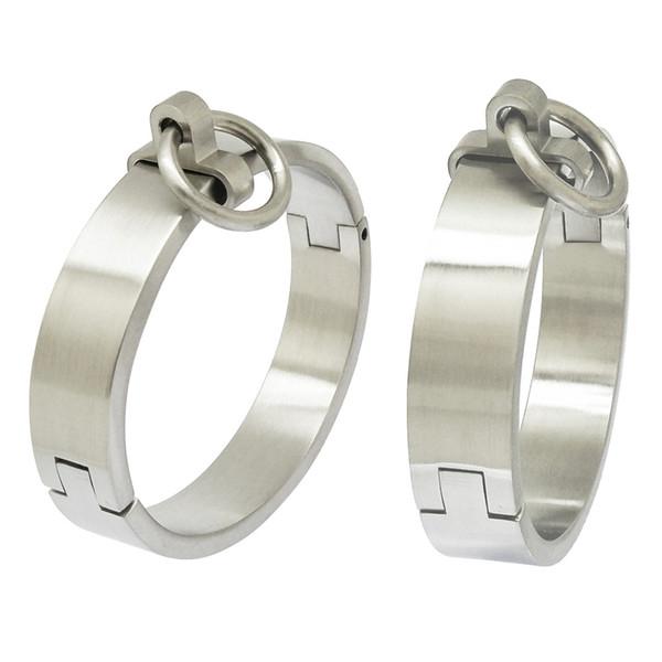 Bracelet jonc en acier inoxydable brossé verrouillable avec poignets et chevilles verrouillables avec joint torique amovible