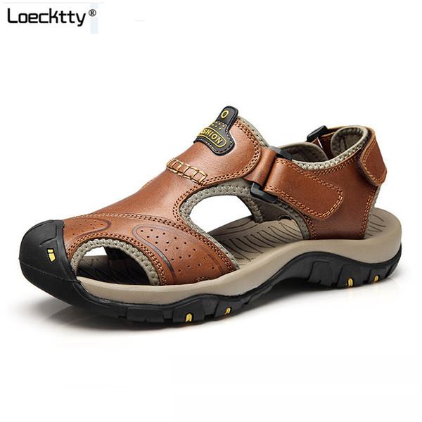 Loecktty Lederen Zomer Zachte Mannelijke Sandalen Schoenen Voor Mannen Ademend Licht Strand Casual Kwaliteit Lopen Sandalo ER 45