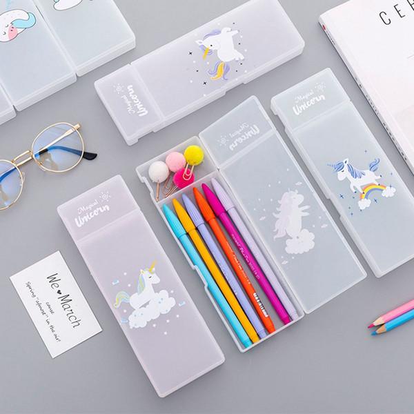 1Pc Kawaii cassa di matita del fumetto Unicorn Scrub regalo rosa trasparente Scuola bella cassa di matita della scuola bancari Articoli di cancelleria