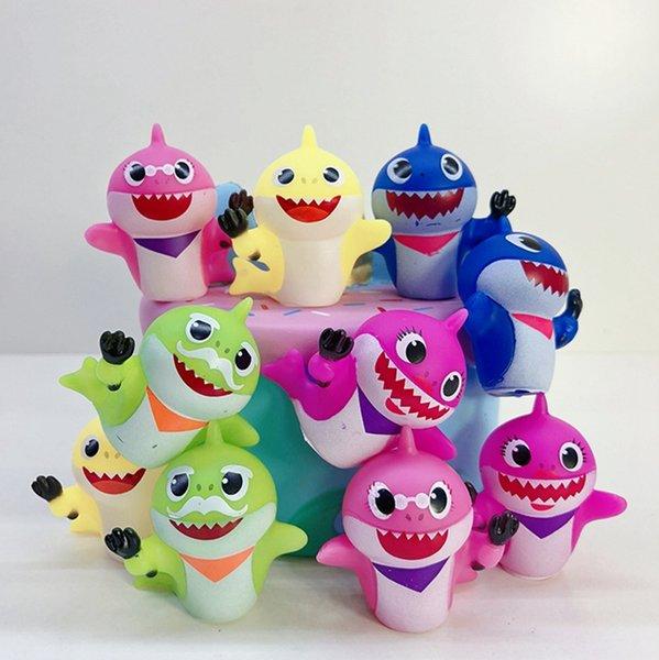 Baby Shark Doll Cartoon Shark Baby figura de acción Modelo Animal lindo Hotselling novedad Kids Toy regalo venta al por mayor 10 unids / set YW2418