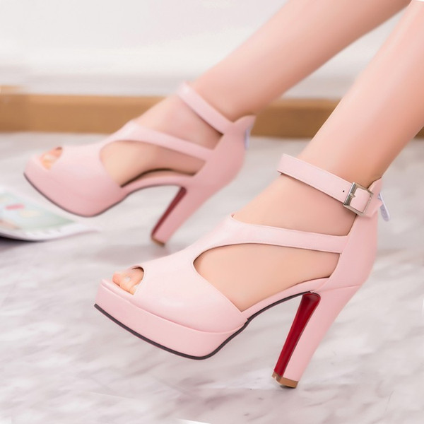 Sexy2019 Concise T-shaped Fish Mouth Waterproof Platform Coarse High With Sandals Will Shoes W92
