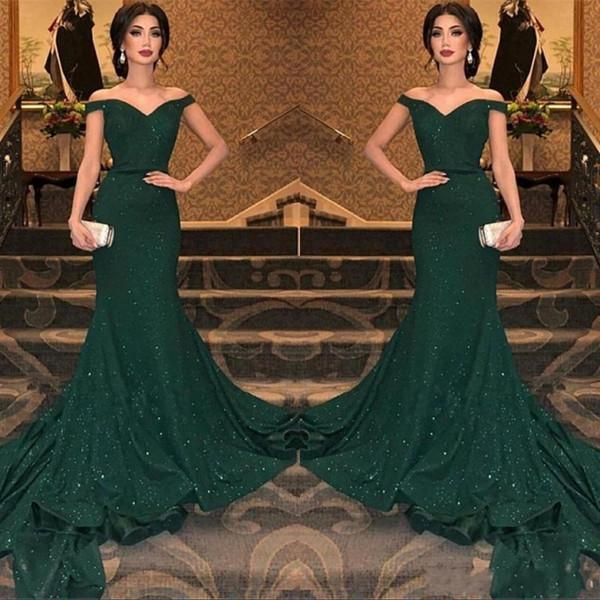 2019 Mais Novo Árabe Verde Escuro Lantejoulas Sereia Vestidos de Noite Fora Do Ombro Ruched Até O Chão Prom Vestidos de Noite Vestido de Festa BC0792