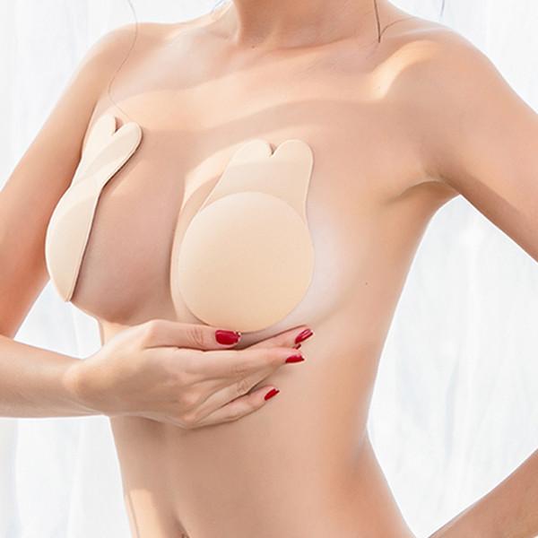 2adet / Çifti Kadınlar Kulak Göğüs Çıkartma Nefes Biyo-Silikon Meme Kapak Karşıtı Sarkma Göğüs Pedi Kaldırma Görünmez Bra