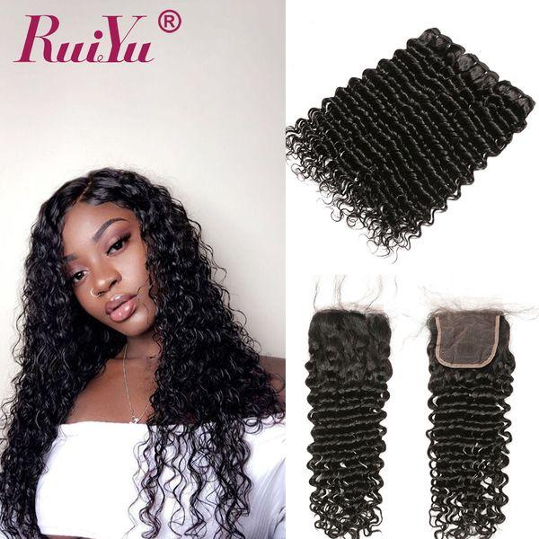 Cheveux Vierges Péruviens Afro Kinky Bouclés Cheveux Humains 3 Bundles Avec Fermeture Cheveux Humains Vague Profonde Ruiyu Tisse Trame Avec Fermeture En Dentelle